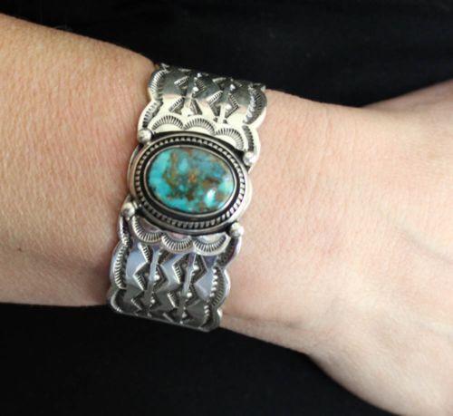 SUPERB-80G-LEONARD-NEZ-Navajo-Sterling-Silver-BLUE-GEM-Turquoise-Cuff-Bracelet