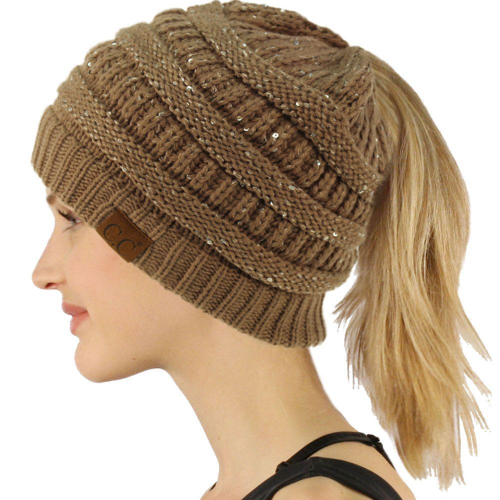 6b159b198 CC Ponytail Messy Bun Beanietail Winter Knit Stretch Beanie Hat ...