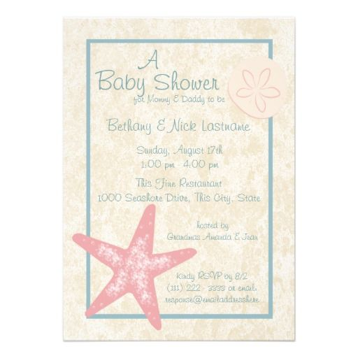 Starfish and Sand Dollar Baby Shower Personalized Invite