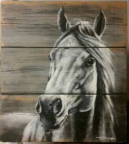 Horse Painting Acrylic On Barnwood
