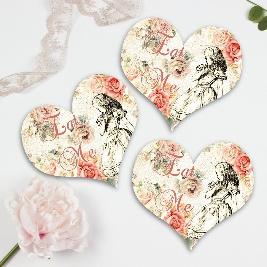 Alice in Wonderland Hearts, Eat Me Cards, Tea Party Decoration ...