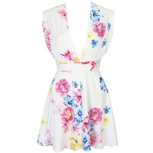 White Plunge Neck Tied Strap Detail Open Back Floral Dress ($50) ❤ liked on Polyvore featuring dresses, white open back dress, flower print dress, floral print dress, strap dress and strappy dress