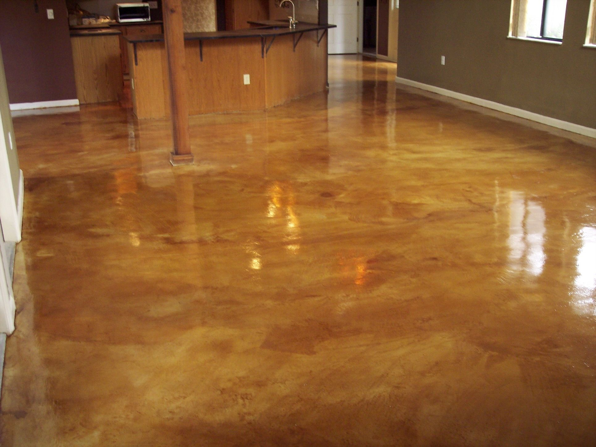 Stained cement floors chemical staining concrete for Cement paint colors for floors