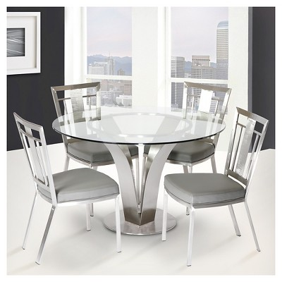 ecba89b7c0 Cleo Contemporary Dining Table Stainless Steel (Silver)/Clear Glass - Armen  Living