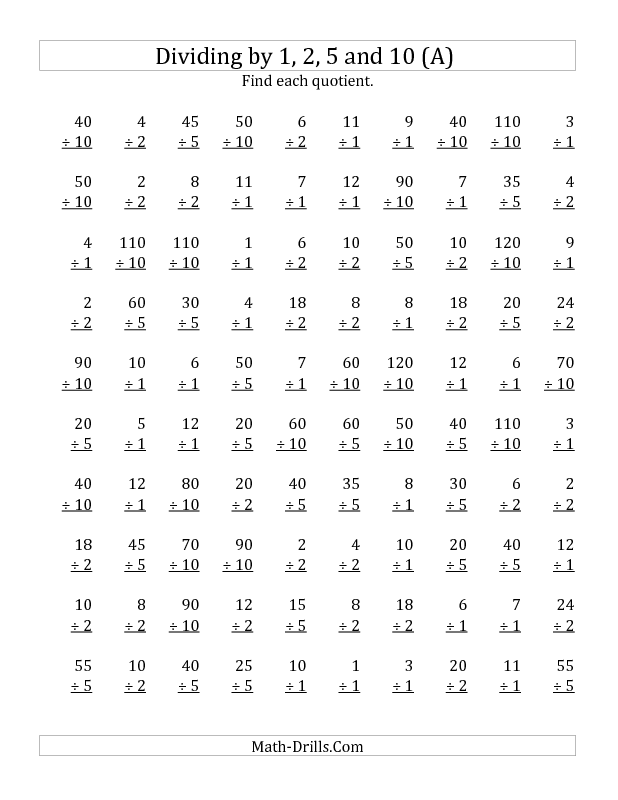 Printable Worksheets vertical line test worksheets : New 2012-12-17! Division Worksheet -- Dividing by 1, 2, 5 and 10 ...