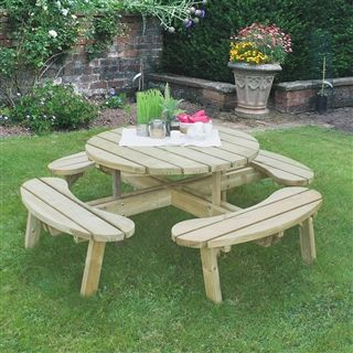 A Low Maintenance Piece Of Garden Furniture, The Circular Picnic Table Can  Sit The Whole