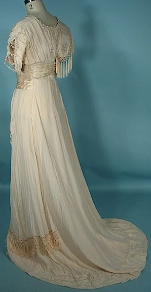 c. 1909 Ivory Silk Crepe Edwardian Wedding Gown with Fringe and ...