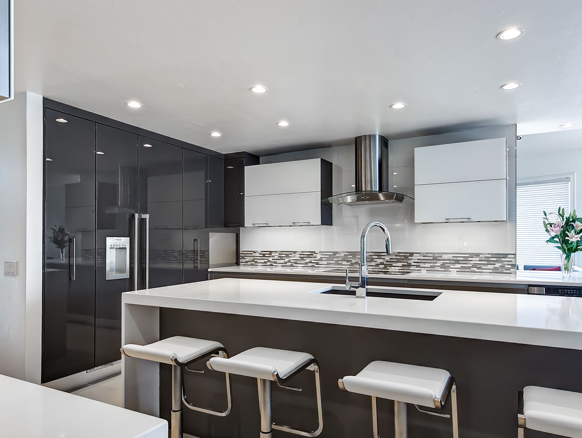 high gloss white quartz countertops, waterfall