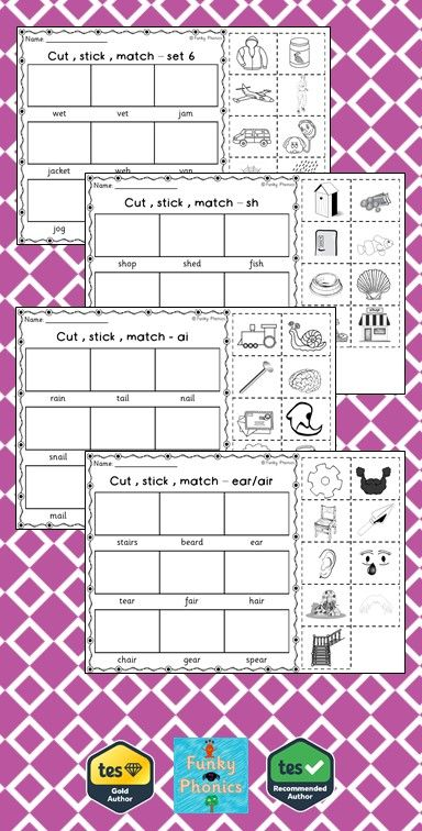 Phonics Phase 3 - Cut, Stick, Match | Letters and Sounds Resources ...
