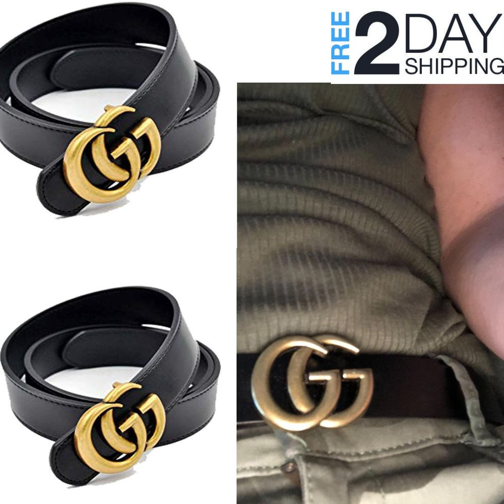 6b1b92c16 Women G-Style Gold Buckle Leather Slim Belts Gucci Logo Pattern For Jeans  3.2cm #NonBranded