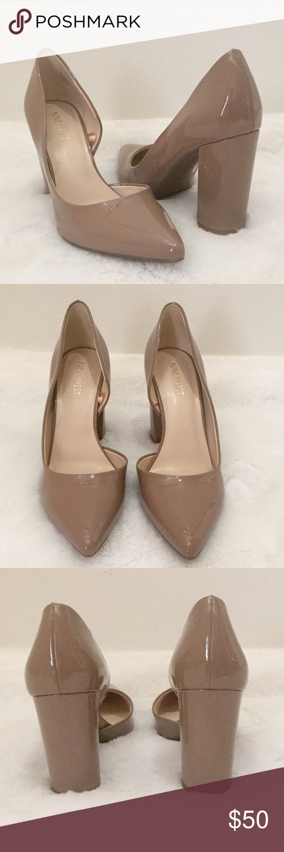 b8b262ce3f Nine West Anisa Heels NEW✨Nine West Anisa Pumps. Nude patent faux-leather  d'Orsay Style Pumps with stacked heel and pointed toe. These are perfect  for the ...
