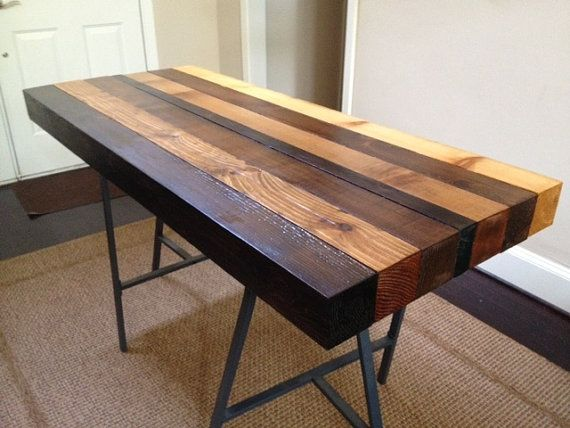 Multi-stained Counter height table Wood tables, Furniture ideas