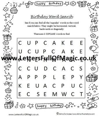 birthday girl word search by letters full of magic