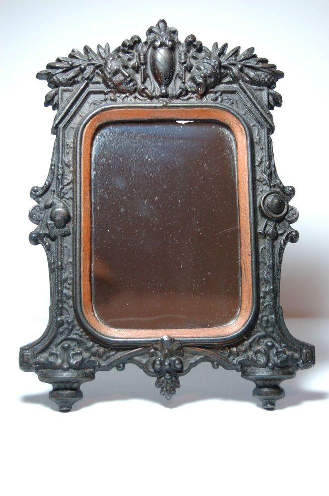 Antik Standspiegel Bilderrahmen Eisen Gusseisen Mirror Cast Iron ...