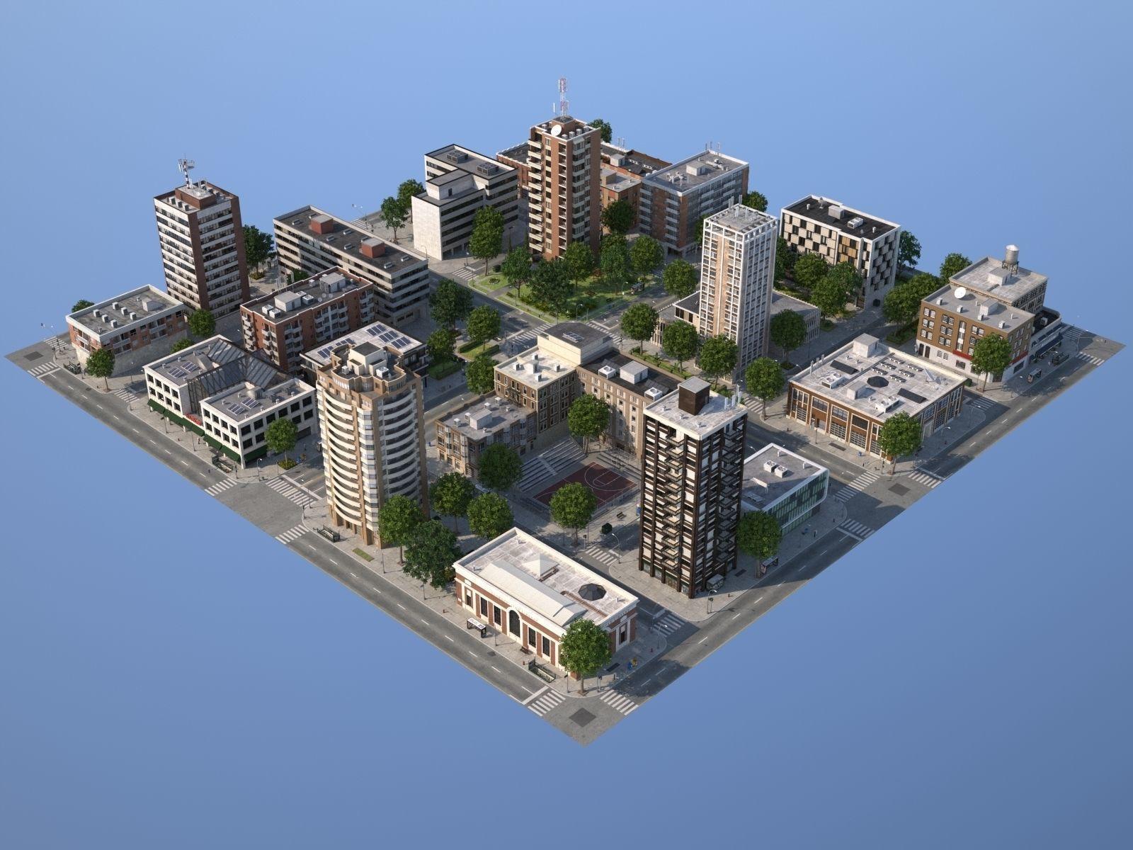 dba716a8fc1 City medium size 3D model | CGTrader | tiled in 2019 | City model ...
