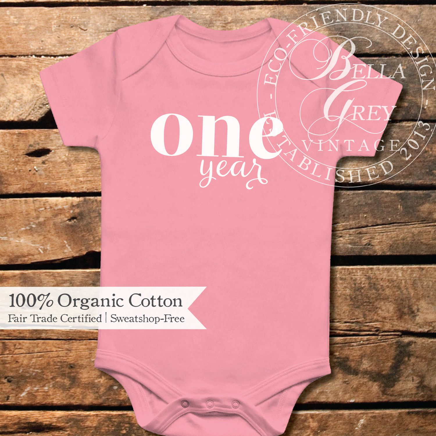 One Year Old Onesie - 1st Birthday Girl - 100% organic cotton - Cake Smash Outfit 1st Birthday Party