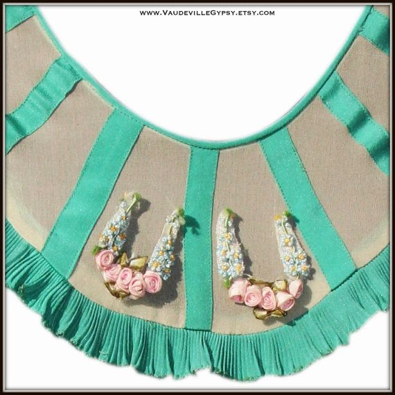 1920s Green Flapper Dress with Ruffles, Peplum, Accordion Pleating ...