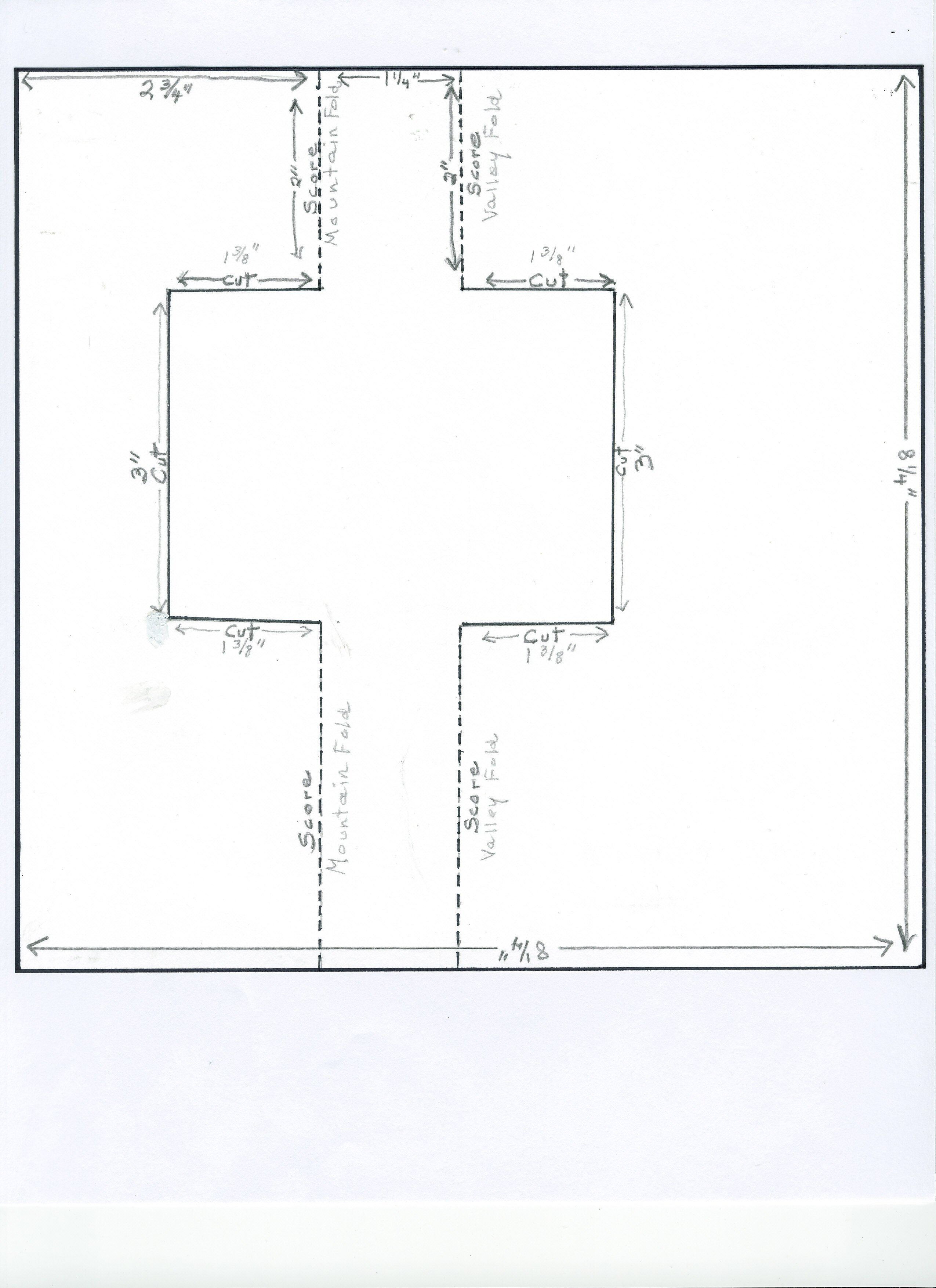 swing card template showing measurements cutting lines and scoring lines the finished card fits in an envelope for an 8 x half fold card
