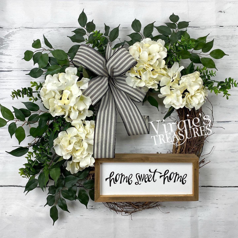 Photo of Spring Wreath, Home Sweet Home Wreath, Hydrangea Wreath, Farmhouse Wreath, Front Door Wreath, Summer Wreath, Housewarming