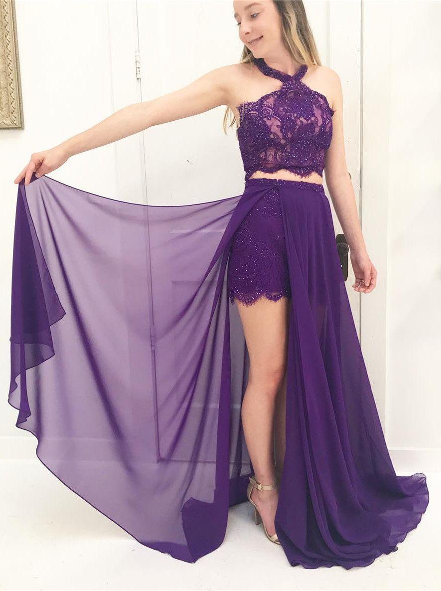 2018 long prom dress, two piece purple long prom dress #prom2k18 ...