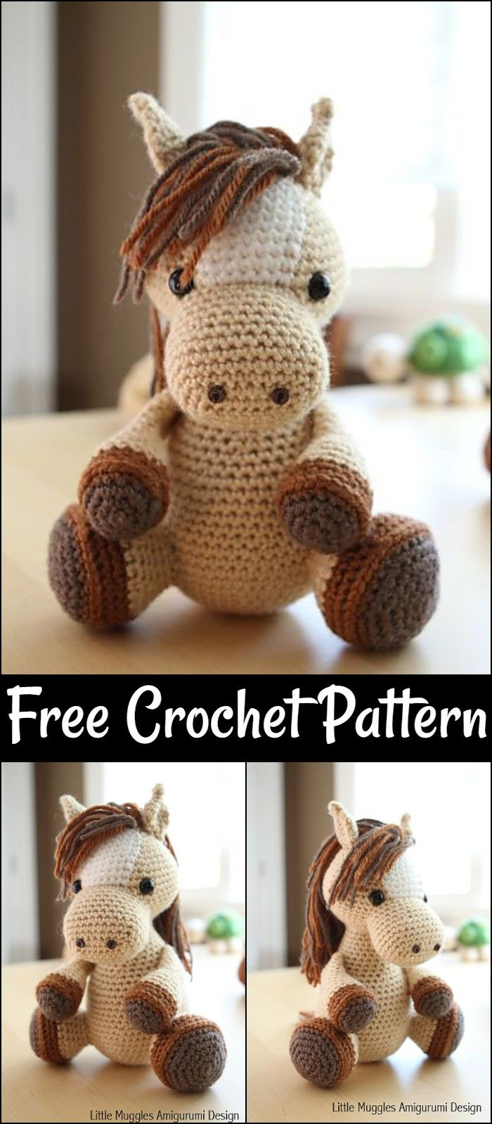 Farm Horse crochet pattern - Amigurumi Today | 1600x700