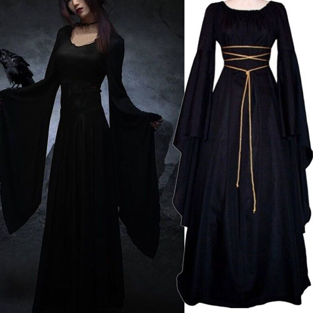 Awesome amazing women medieval cosplay costume long sleeve narrow