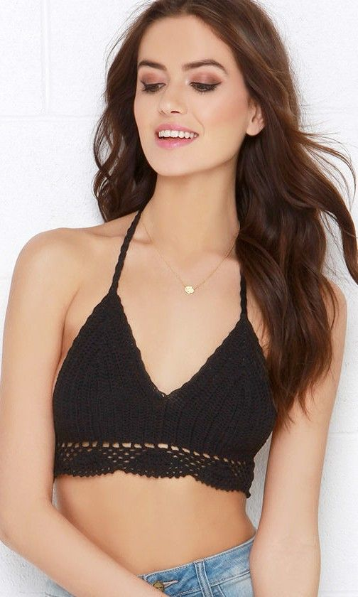 85835bef2fc At the Rock Show Black Crochet Halter Crop Top | Festival Style ...