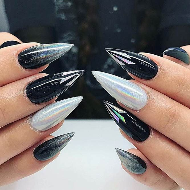 25 Fearless Combinations With Black Stiletto Nails   nails ...