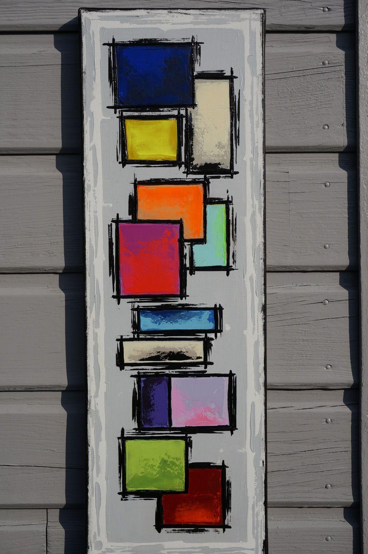 Peinture abstraite contemporaine color e unique peinture for Peinture geometrique contemporaine