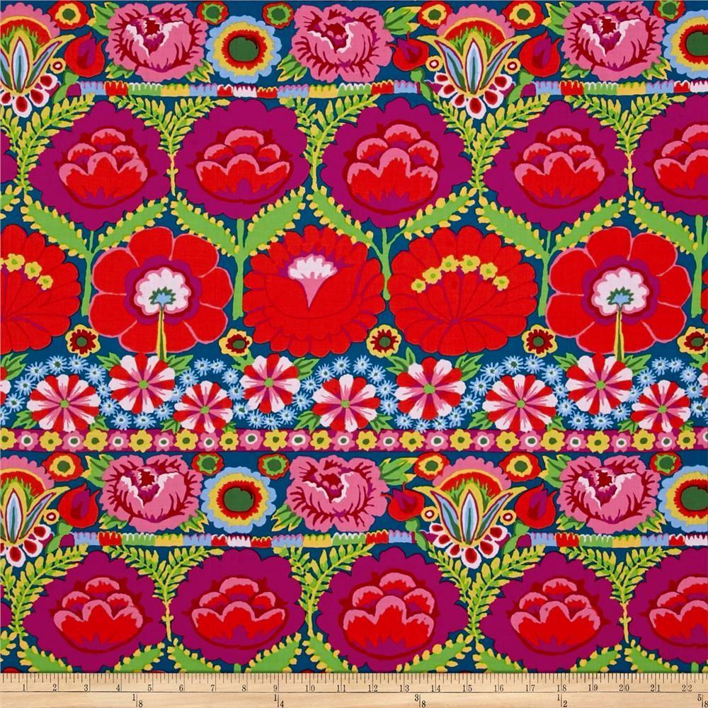 85a45e7c1be80c Kaffe Fassett Artisan Embroidered Flower Border Red from  fabricdotcom  Designed by Kaffe Fassett for Free