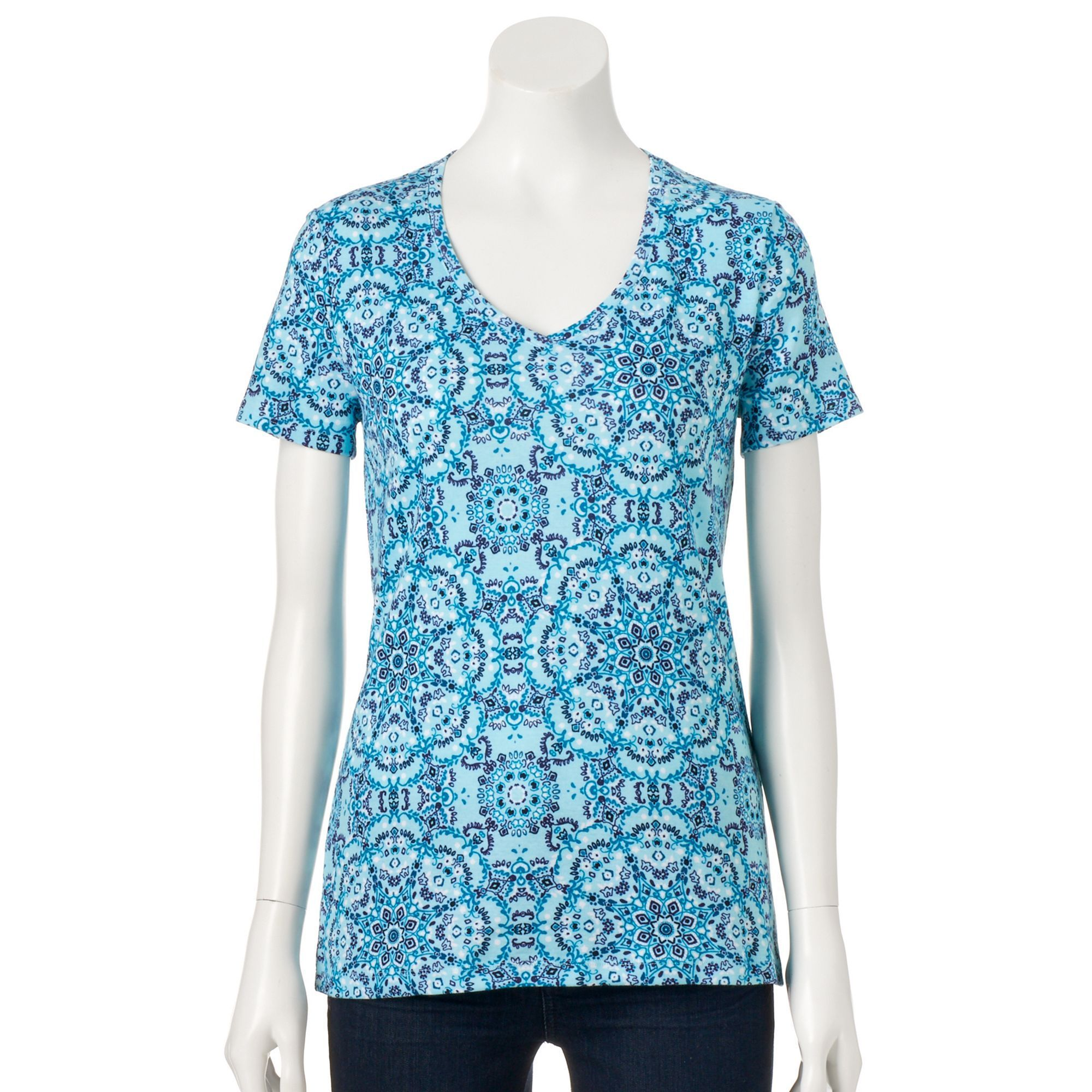 Women's Croft & Barrow® Essential V-Neck Tee, Size: Medium, Turquoise/Blue (Turq/Aqua)