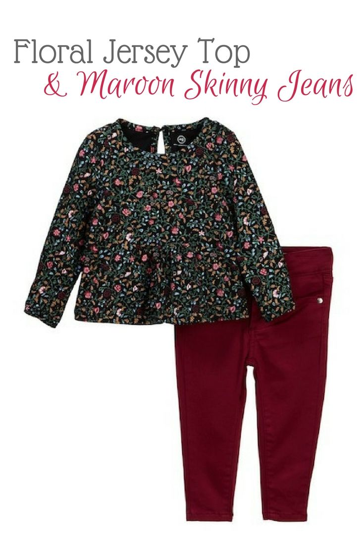 Adorable Floral Jersey Top and maroon skinny jeans. baby girl ... c06ee3564ad7