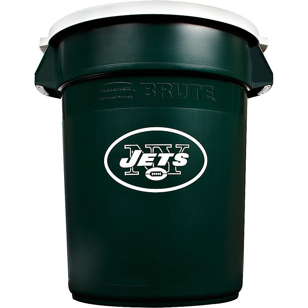 36 Qt Large Open Wastebasket Magnificent Brute Nfl 32 Galnew York Jets Round Trash Can With Lid Green Decorating Design