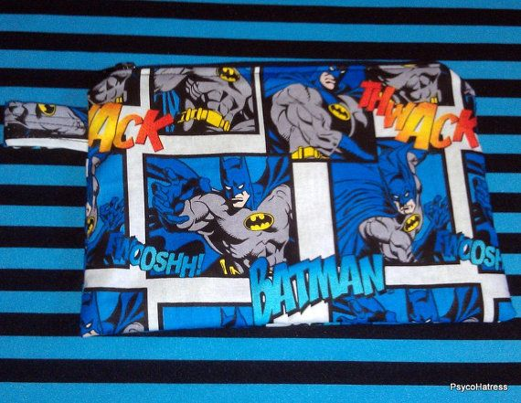 Comic Book Style BATMAN Zipper Pouch by PsycoHatress on Etsy, $8.00