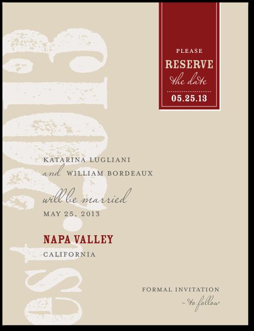 Wedding Paper Divas Vintner Label Khaki Save the Dates