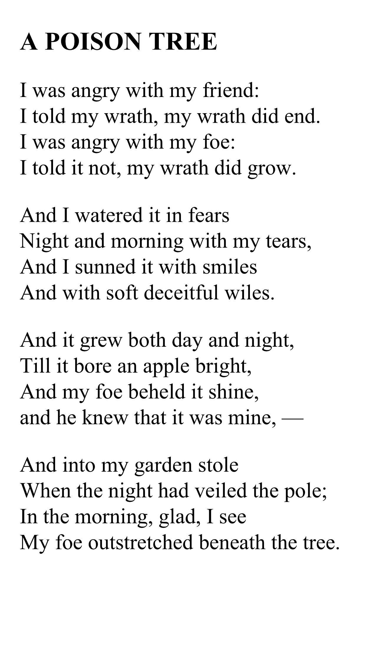 Poison Tree Poem By William Blake