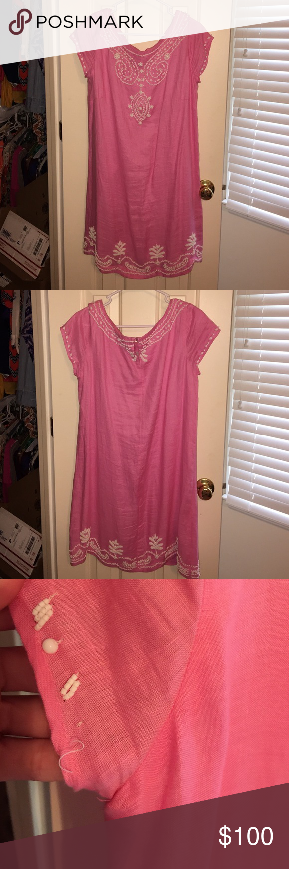 Lilly pulitzer pink beaded shift dress pink shift dress with white