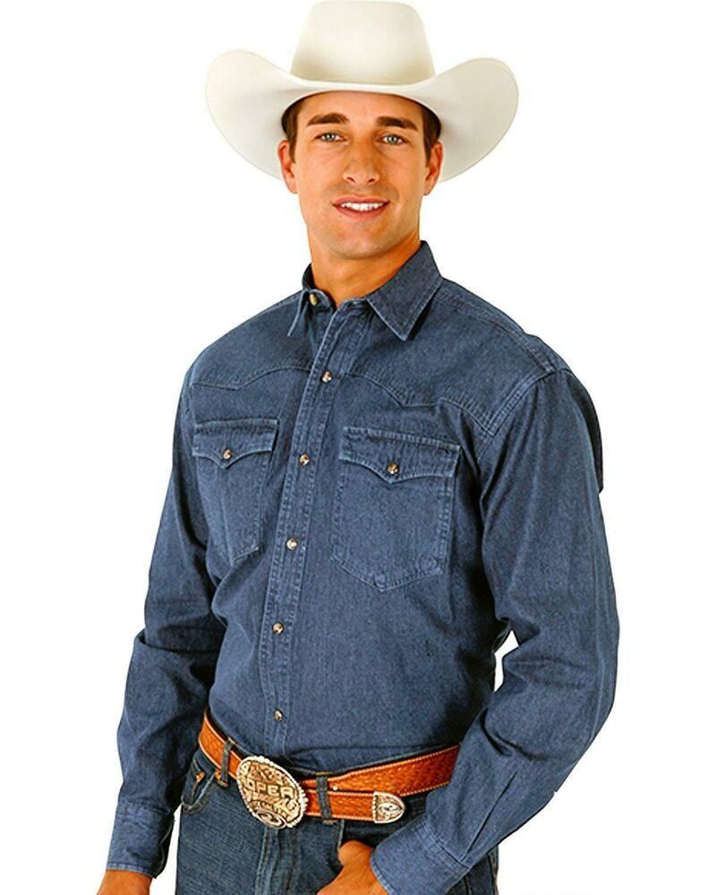 84775c0b51 Roper Denim Blue Twill Western Shirt - Big and Tall - 06-001-0720-0110 BU   fashion  clothing  shoes  accessories  mensclothing  shirts (ebay link)