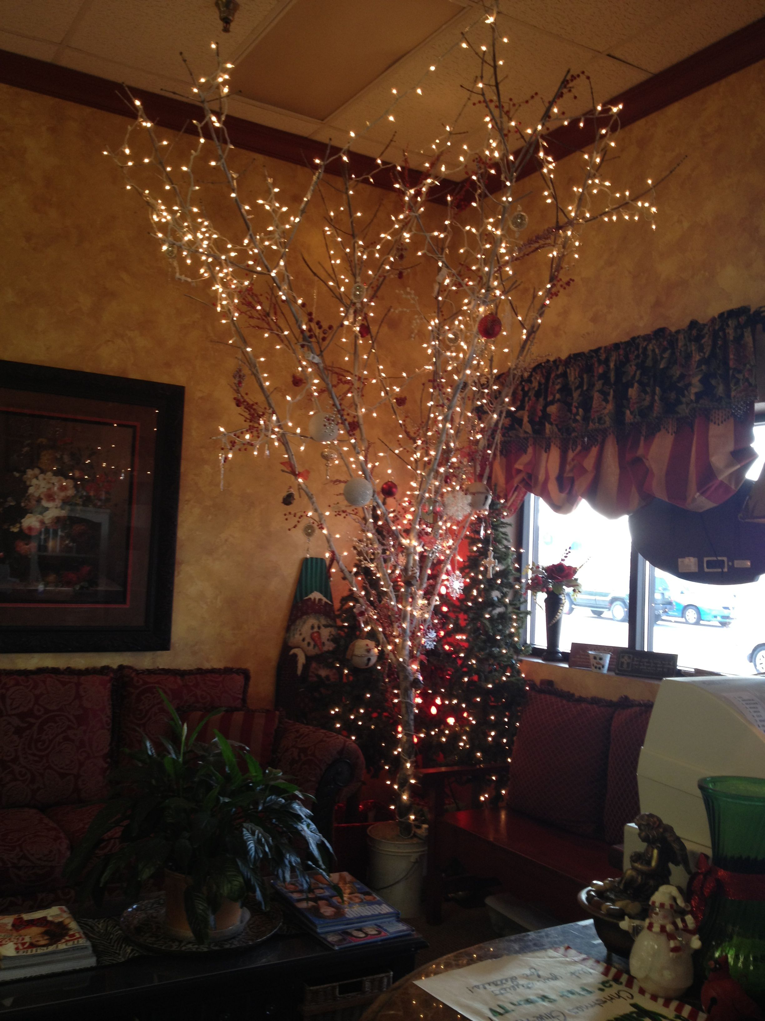 Cut Down A Small Tree Or Tree Branch Spray Paint It White Put It In Cement And Decorate It