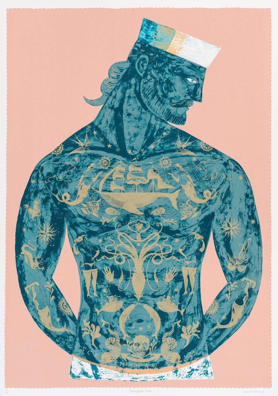 Scrimshaw Sam By Sarah Young Silk Screen Print Brighton UK 2015