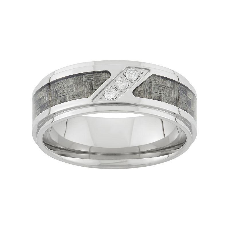 1 10 Carat T W Diamond Stainless Steel Carbon Fiber Wedding Band Men Stainless Steel Wedding Bands Wedding Bands Wedding Ring Bands