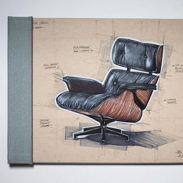 Eames Lounge Chair with call outs by @mckay.nilson . . . . . #design #industrialdesign #productdesign #designer #designsketch #designsketching #idsketching #idsketches #sketch #art #drawing #sketchbook #copic #copicmarkers #prismacolor #render #rendering #draw #marker #diseño #draw #furnituredesign #eames #hermanmiller #chair #woodart