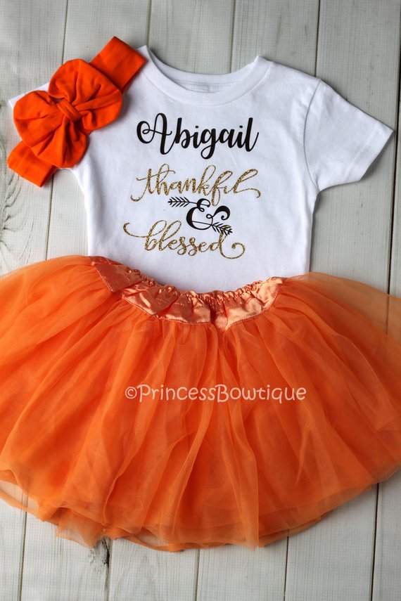 eff75260d Fall Baby Tutu Dress, Thankful and Blessed Custom Tutu Dress - Thanksgiving  Baby Clothes - Fall Baby