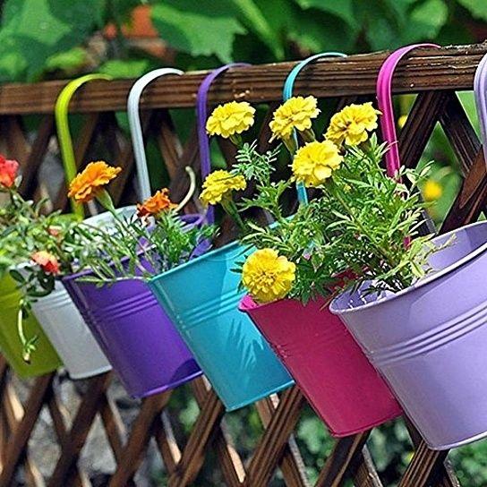 Buy Large 3 Pcs Iron Hanging Flower Pots Balcony Garden Plant Planter Wall Hanging Metal Bucket Flower Holde Hanging Flower Pots Garden Plant Pots Flower Pots