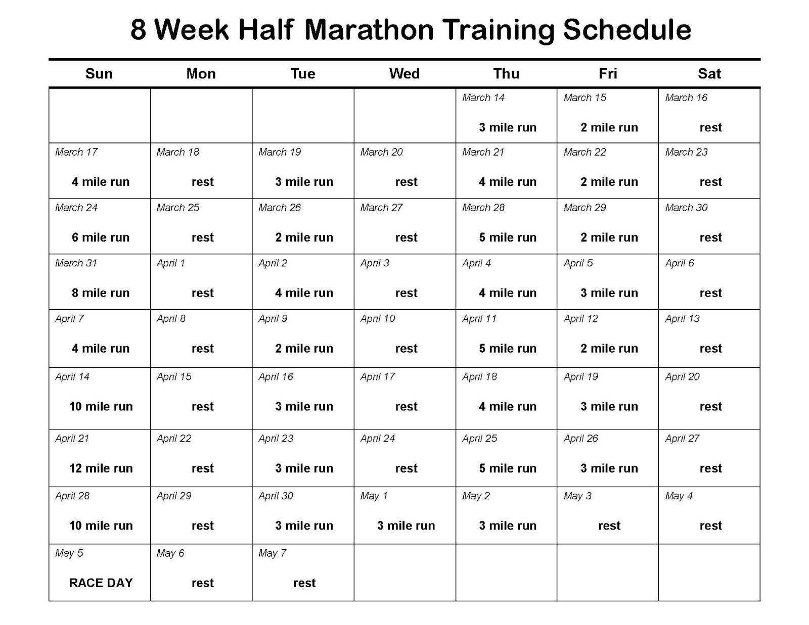 Week Half Marathon Training Plan  Specifically For Nike