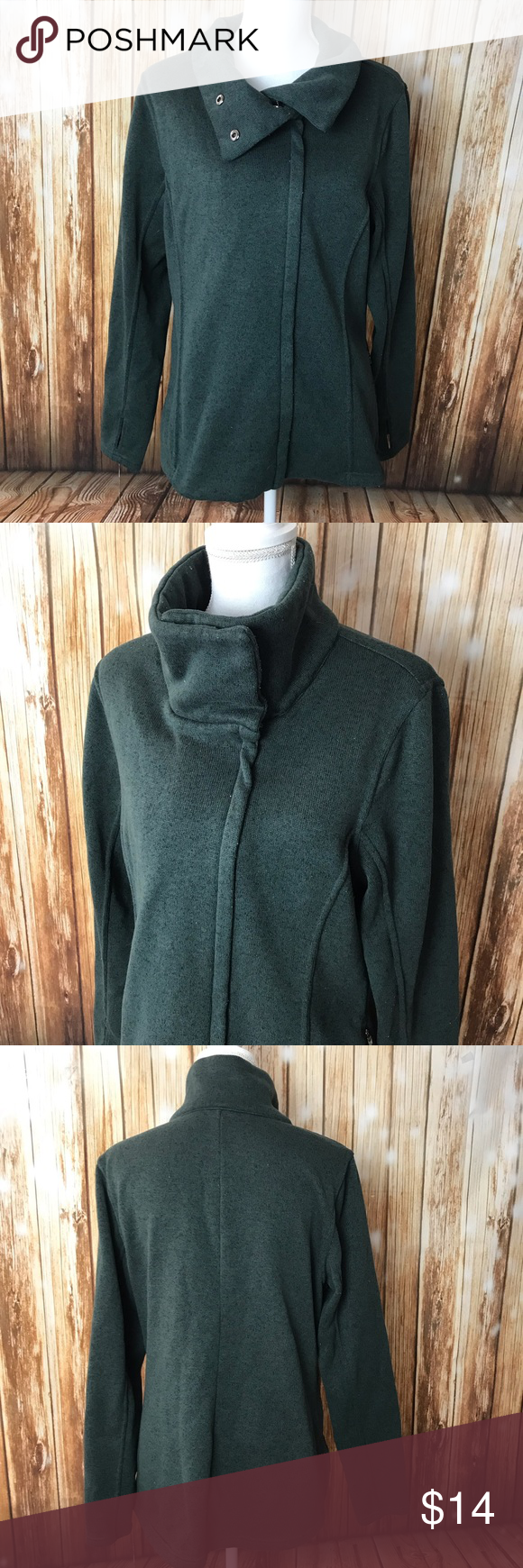 Green athletic zip jacket cowl neck Old Navy Old Navy