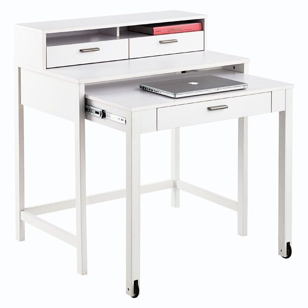 White Henley Roll Out Desk Desk Space Saving Desk Home Desk