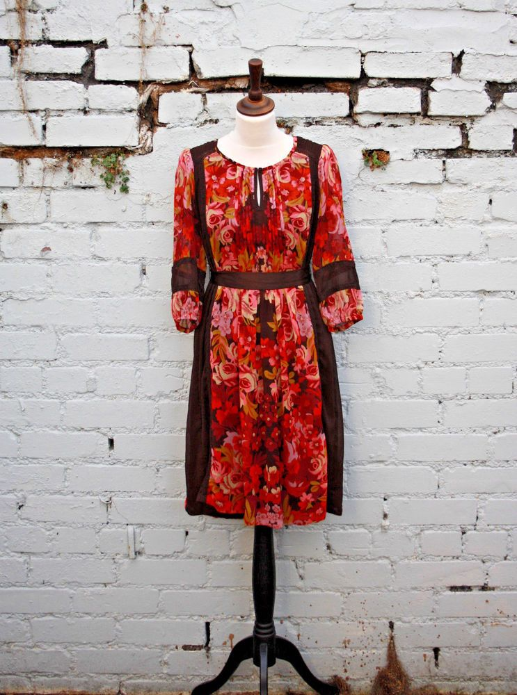 Monsoon Floral Dress Floaty Autumnal Uk 8 Small Fashion Clothing Shoes Accessories Womensclothing Dre Floral Tunic Dresses Floral Dress
