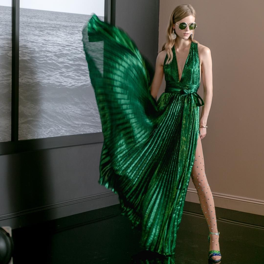 Owning The Night In Metallic Green Elie Saab Resort 2018 Shorestories Fashion Beautiful Outfits Dresses [ 1080 x 1080 Pixel ]
