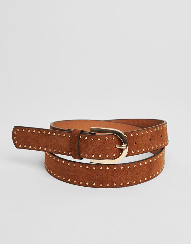 Pull Bear - mujer - accesorios - cinturones - cinturón tachas metálicas -  marron - 05872312-V2017 a8ceae545c88